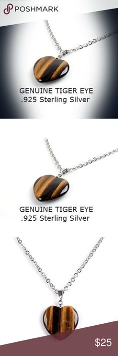 Sterling silver Tiger Eye Pendant Necklace Chain Measures 18 inches. Jewelry Necklaces