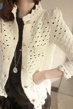 Nostalgic Warmth Scallop Edge Open Knit Sweater in Cream   Sincerely Sweet Boutique