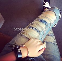 New 2015 Fashion Ripped Chain Denim Jeans Sexy Big Hole Vintage Jeans Pants Women Personality Pencil Pants Jeans Female-in Jeans from Women's Clothing & Accessories on Aliexpress.com | Alibaba Group