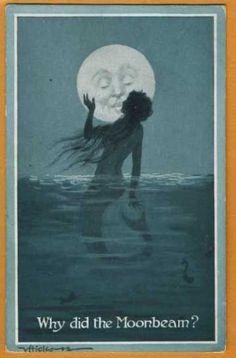 vintage mermaid illustration Why did the Moonbeam? Mermaid kissing the man in the moon                                                                                                                                                      More
