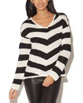 Wet Seal Womens Chevron High-low Pullover Sweater