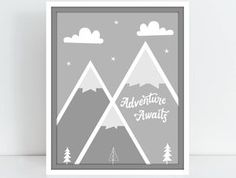 Adventure Awaits Gray and White- Digital download print- Mountains, trees, sun nursery design inspired by Cloud Island crib bedding by ATidBit on Etsy