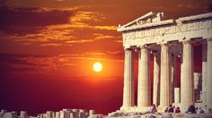 East Urban Home Leinwandbild Tempel der Athene bei Sonnenuntergang Europe In November, Greek Island Holidays, Best Sunset, Sunset Art, Athens Greece, Acropolis Greece, Parthenon Athens, Freundlich, Go Camping