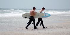 Surfers at Wrightsville Beach, NC