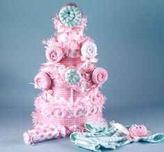 Sweet Lollipop Baby Shower Diaper Cake - Girl