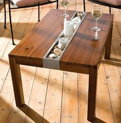Sustainable furniture - love this table! Table Cafe, Diy Table, Dining Table, Patio Table, Outdoor Dining, Design Furniture, Furniture Projects, Wood Furniture, Danish Furniture