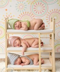 Triplets newborn photo idea bunk beds google