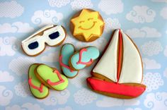 Eleni's New York Set Sail Cookies Cookies Nyc, Nut Free Cookies, Cake Cookies, Yellow Sun, Blue Green, Nautical Cake, Summer Cookies, Nature Beach, Set Sail