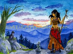 Fantasy Painting Watercolor Art Print Twilight by ADKArtsBoutique