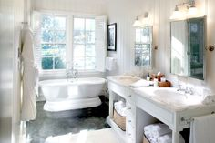 so doing this in our new home..... stand alone tub/ large window with shutters..... ~love~
