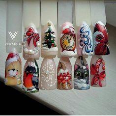 Holiday Nail Art, Winter Nail Art, Christmas Nail Designs, Christmas Nail Art, Winter Nails, Owl Nails, Minion Nails, Xmas Nails, Funky Nail Art