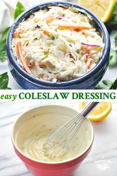 This easy creamy Coleslaw Dressing comes together in about 5 minutes with just a handful of ingredients that you probably already have on hand! Easy Coleslaw Dressing, Coleslaw Mix, Candida Diet Recipes, Creamy Coleslaw, Advocare Recipes, Clean Eating Tips, Cooking Recipes, Healthy Recipes, Slaw Recipes