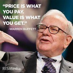 Importante tener claro la diferencia entre Valor y Precio. Nunca comprar por el precio, sino por debajo del valor real. Principio aplicable a todo negocio.