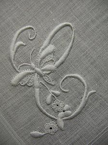 WHITEWORK: Monogram C with Butterfly.