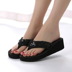 ca2b9a42dca6 Women Slippers Sequins AntiSlip Sandals Indoor Outdoor and Thong Mid Heels   fashion  clothing