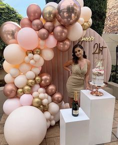 21st Bday Ideas, Birthday Balloon Decorations, 21st Party Decorations, Decoration Ideas For Birthday, 21 Birthday Balloons, Sweet 16 Decorations, Birthday Backdrop, Wedding Balloons, Birthday Goals