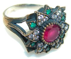 $72.15 Turkish!! Pink Ruby Sterling Silver ring s. 9 at www.SilverRushStyle.com #ring #handmade #jewelry #silver #ruby