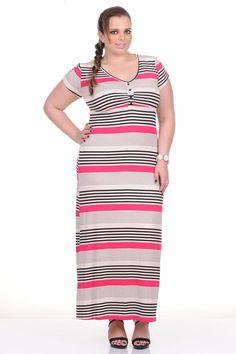 Moda feminina plus size   81765 Vestido longo em malha  listrado