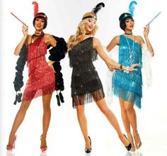 1920S ROARING 20'S ADULT WOMENS DAZZLING FLAPPER GATSBY COSTUME DRESS BLACK RED