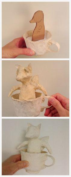 Artist in LA LA Land Illustration & Design: Creating Little Papier-Mache Animals in Tea Cup for Ego Fine Art Gallery Paper Mache Projects, Paper Mache Clay, Paper Mache Sculpture, Paper Mache Crafts, Clay Projects, Projects To Try, Paper Mache Animals, Sculpture Lessons, Toy Art