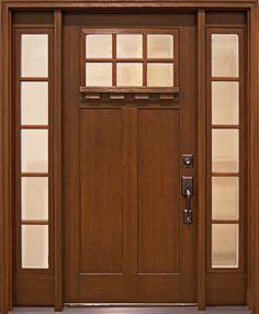 Clopay Craftsman Collection fir-grain fiberglass front door with Clarion glass windows and sidelights. www.clopaydoor.com
