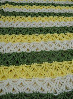 Vintage Crocheted Afghan or Blanket in Beautiful Colors, Avocado, Yellow, and Cream  16.00