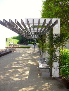 Pergola in sculpture garden. Pinned to Garden Design - Pergolas by Darin Bradbury.