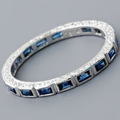 White Gold Baguette Sapphire Eternity Ring Eternity Band / Faye Cullen