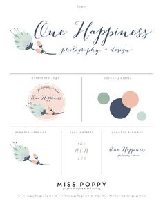 Logo, Branding and Graphic Design Elements for One Happiness Photography and Design. www.etsy.com/... www.facebook.com/... Designed by Miss Poppy Design. Brand. Business. Modern. Vintage. Colour Palette. Retro. Floral