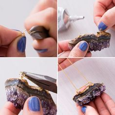 Accessorize your look with a DIY amethyst necklace.