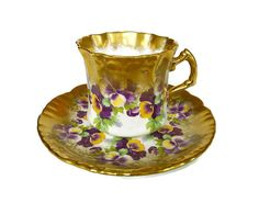 Tea Cup Saucer Hammersley and Co - Pansy Flower, Heavy Gilded Gold, English Bone China, Made in England, Vintage Teacup by zephyrvintage on Etsy