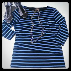"Dana Buchman black and blue striped bandage top M How fun is this top? Black and blue striped top in a gauzy lined material. Reminiscent of the Warhol factory crew (i just dated myself). Stretches but should be worn a little loose. Material is criss crossed, back is striped but one solid piece of material. Bodice is fully lined. Sleeves are sheer. Medium. Bust 18"", waist 17"", length 25"". Slight boatneck. Like new worn once for work but I have too many tops. Make it yours before I change my…"