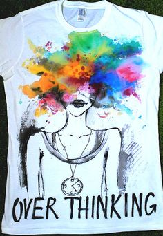 Head in colorful Clouds tshirt. Over Thinking. by palettePandora