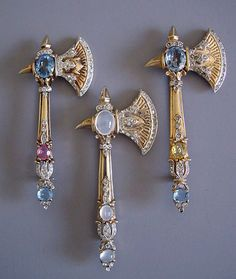 http://rubies.work/0181-ruby-rings/ Jewelry Pagan Wicca Witch: Moonstone, sapphire, diamond and gold ax #brooches.