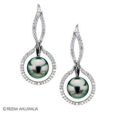 Tahitian pearl earrings by Reena Ahluwalia. white gold, diamonds and Tahitian pearls. Floating Pearl Necklace, Pearl Necklace Set, Pearl Necklace Wedding, Pearl Jewelry, Diamond Jewelry, Bridal Earrings, Diamond Earrings, Skull Jewelry, Necklaces
