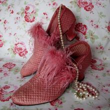 Vintage Boudoir Slippers 1920s pink silk and ostrich feather
