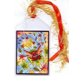 Autumn Fairy Cat Fall Leaves Fantasy Art Mini Bookmark | Tigerpixie - Paper/Books on ArtFire