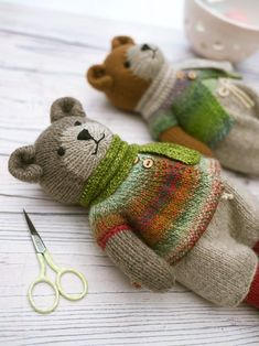 Knitting Patterns For Kids 'Tearoom Bears ' Pdf knitting pattern… an image from my work table when I was photographing the recently published pattern. This week I'm busy planning the colours… Mary Jane's Tearoom – Awesome Craft And Arts Original Baby Knitting Patterns, Knitting For Kids, Loom Knitting, Free Knitting, Knitting Projects, Crochet Patterns, Knitting Toys, Knitted Toys Patterns, Teddy Bear Patterns