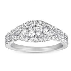 $799.95 for 1 ct Three Stone Round Halo Diamond Bridal Engagement Ring 14k White Gold