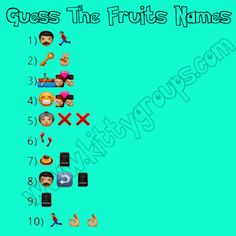 Some Funny Jokes, Funny Games, Guess The Emoji Answers, Fun Quiz Questions, Kitty Party Themes, Tricky Games, Game Fruit, Fruit Names, Dare Games