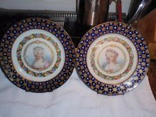 Pair of Early Sevres French Jeweled Portrait Plates, early 19th century