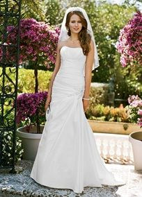 Side-Draped Fit & Flare Gown with Applique Detail Style WG3032
