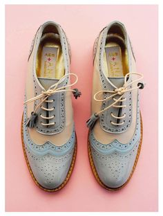 ABO+ Ana Ljubinkovic grey, blue and beige brogues #abo #abo+analjubinkovic…