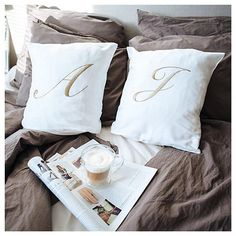 Ready for a nap already. Linen Bedding, Lux Bedroom, Bedrooms, Bed Pillows, New Homes, Monogram, House Design, Lifestyle, Interior