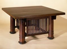 This table was designed by the American architect Frank Lloyd Wright (1867-1959) for the library at the William Fricke House, in Oak Park, Illinois. Oak Park was a large complex of buildings, many of which were designed by Frank Lloyd Wright between 1889 and 1909. The architectural form of this octagonal-legged table is typical of Wright's early furniture  -  from the collection of the Victoria and Albert Museum