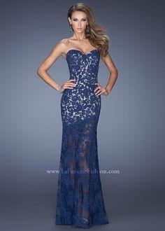 La Femme 19873 Strapless Lace Gown