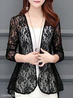 See-Through Floral Plain Long Sleeve Cardigans – holapick Lace Blazer, Lace Cardigan, Cardigan Fashion, Stylish Shirts, Stylish Dresses, Casual Dresses, Chiffon Shirt, Chiffon Tops, White Chiffon