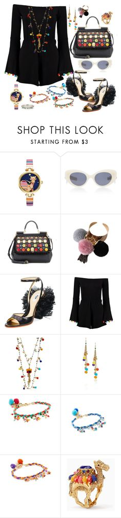 """Pom Poms"" by jeniferkcarsrud ❤ liked on Polyvore featuring Kate Spade, Pared, Dolce&Gabbana, Moschino, Boohoo, Rosantica and Sharon Khazzam"
