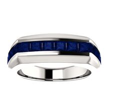 Mens AAA Sapphire Wedding Band Ring or Fashion Ring.  14k Solid Gold. 14k Yellow, White, Rose Gold. Fine Jewelry.