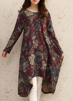 Floral Applique Long Sleeve Midi Shift Dress Source by hpolohova Stylish Dresses For Girls, Casual Formal Dresses, Pakistani Dresses Casual, Kurta Designs Women, Kurti Designs Party Wear, Long Sleeve Midi Dress, Mode Hijab, Indian Designer Wear, Women's Fashion Dresses